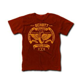 送料無料!メール便 Schott ショット Tシャツ 半袖 フライングタイヤ 赤 レッド USAモデル Flying Tire Logo T-Shirt Red メンズ セレクト インポート【メンズセレクト】