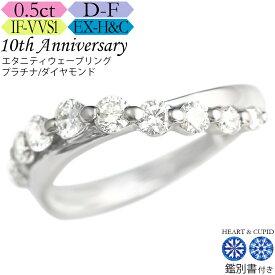 【究極のH&C】[クーポン5%OFF]プラチナ ダイヤ エタニティウェーブリング0.5カラット 《カラーD-F / クラリティIF-VVS / 3EX-H&C》鑑別書付 記念日 誕生日 ダイア ジュエリー 指輪
