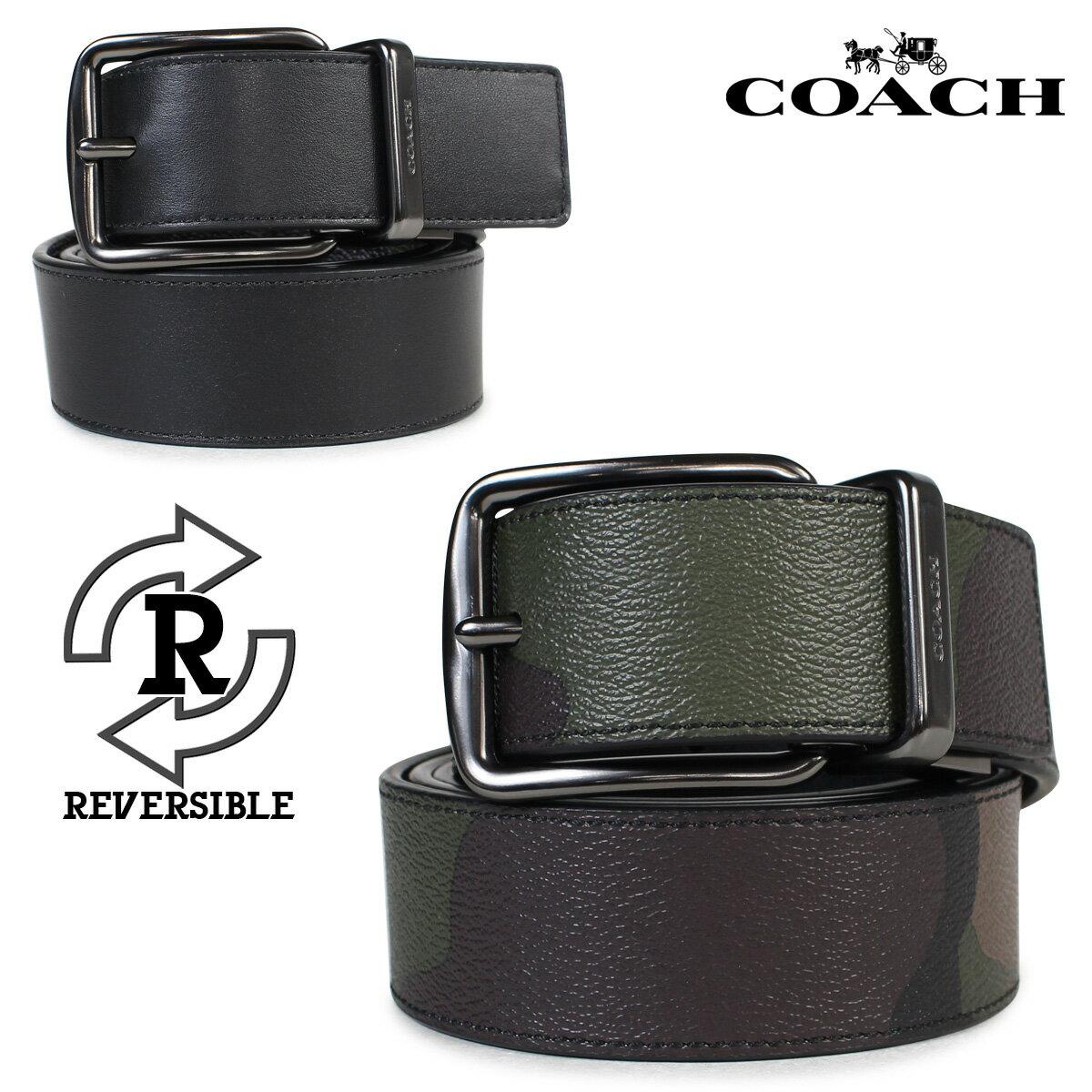 COACH コーチ メンズ ベルト レザーベルト リバーシブル 革 F56160 EC0 ブラック カモ [179] 【決算セール】