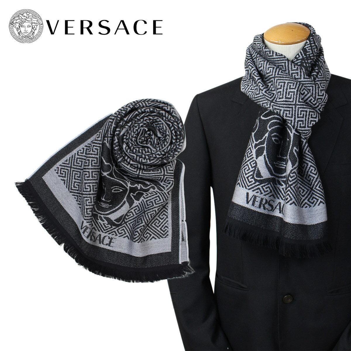 VERSACE マフラー ヴェルサーチ ベルサーチ メンズ ウール イタリア製 カジュアル ビジネス 0627 [1/15 追加入荷] [191]
