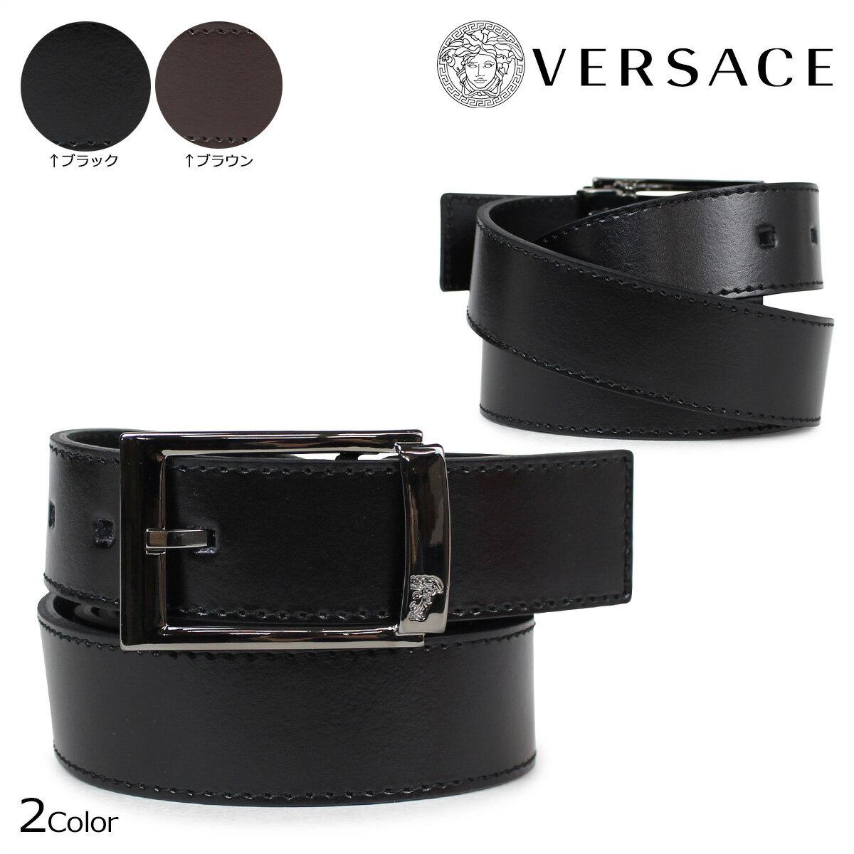 VERSACE ヴェルサーチ ベルト ベルサーチ メンズ 本革 レザーベルト ブラック ブラウン イタリア製 カジュアル ビジネス V91178S [5/2 追加入荷] [185]