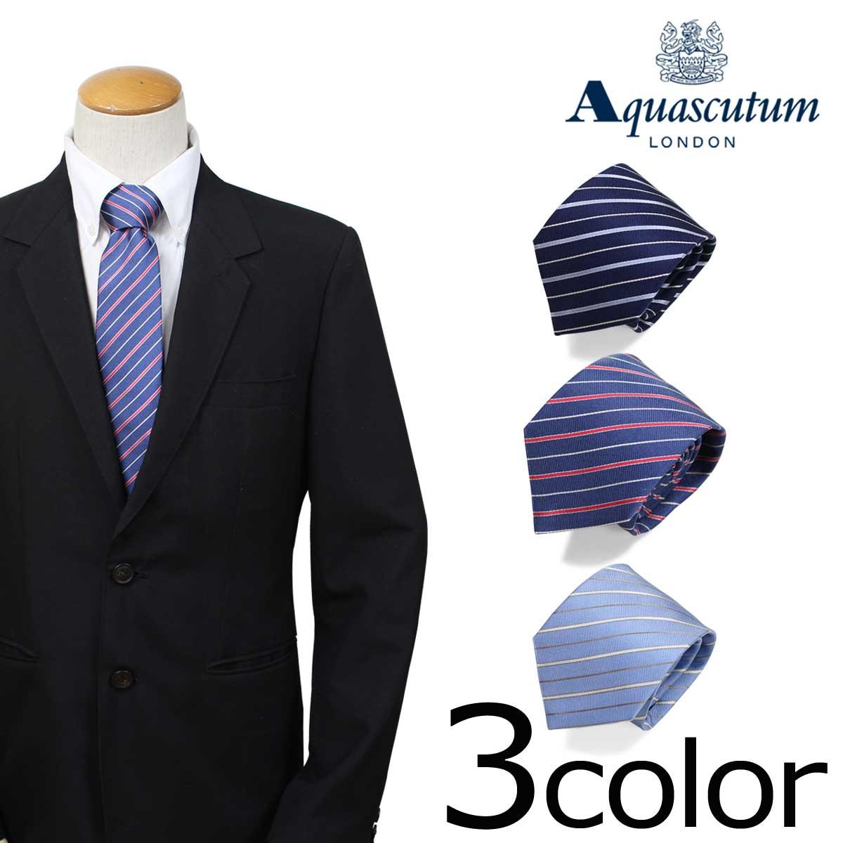 AQUASCUTUM アクアスキュータム ネクタイ イタリア製 シルク ビジネス 結婚式 メンズ [3/20 新入荷] [183]
