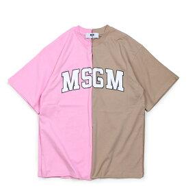 【最大600円OFFクーポン】 MSGM COLLEGE LOGO T-SHIRTS Tシャツ レディース エムエスジーエム 半袖 ブラウンベージュ ピンク 2541MDM162 184798
