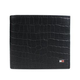 TOMMY HILFIGER WALLET トミーヒルフィガー 財布 二つ折り メンズ レザー ブラック 31TL130060-001 [192]