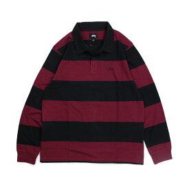 STUSSY RALPHIE STIRPE LS RUGBY ステューシー ラガーシャツ ポロシャツ メンズ 長袖 ブラック 黒 1140120 [196]