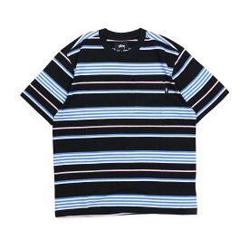STUSSY THOMAS STRIPE CREW ステューシー Tシャツ メンズ 半袖 クルーネック ブラック 黒 1140123 [196]