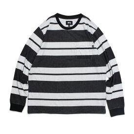 STUSSY FRANKLIN STRIPE LS CREW ステューシー Tシャツ メンズ 長袖 ロンT カットソー クルーネック ブラック 黒 1140130 [196]