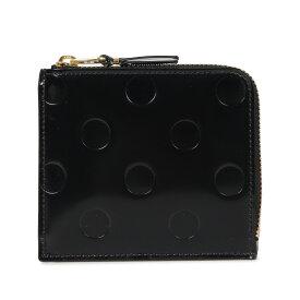 COMME des GARCONS POLKA DOTS EMBOSSED WALLET コムデギャルソン 財布 ミニ財布 メンズ レディース L字ファスナー 本革 ポルカドット ブラック 黒 SA3100NE