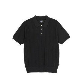 STUSSY CABLE SS POLO ステューシー ポロシャツ 半袖 メンズ ブラック オレンジ 黒 117077 [予約 8/11 新入荷予定]