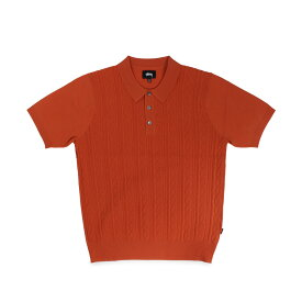 STUSSY CABLE SS POLO ステューシー ポロシャツ 半袖 メンズ ブラック オレンジ 黒 117077