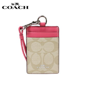 Coach pass case COACH card case pass holder F63274 khaki X strawberry Lady's [1/11 Shinnyu load]