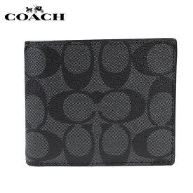 COACH コーチ メンズ 財布 二つ折り財布 パスケース F74993 チャコール×ブラック