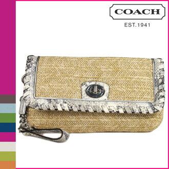 10%的折扣 ★ 点 10 倍教练教练手袋 [F47440] 天然羊皮纸汉普顿周末的稻草 Python 离合器