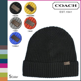 Coach COACH mens Beanie knitted Hat F85140 5 color ribbed knit hat [12 / 1 new in stock] regular outlet ★ ★