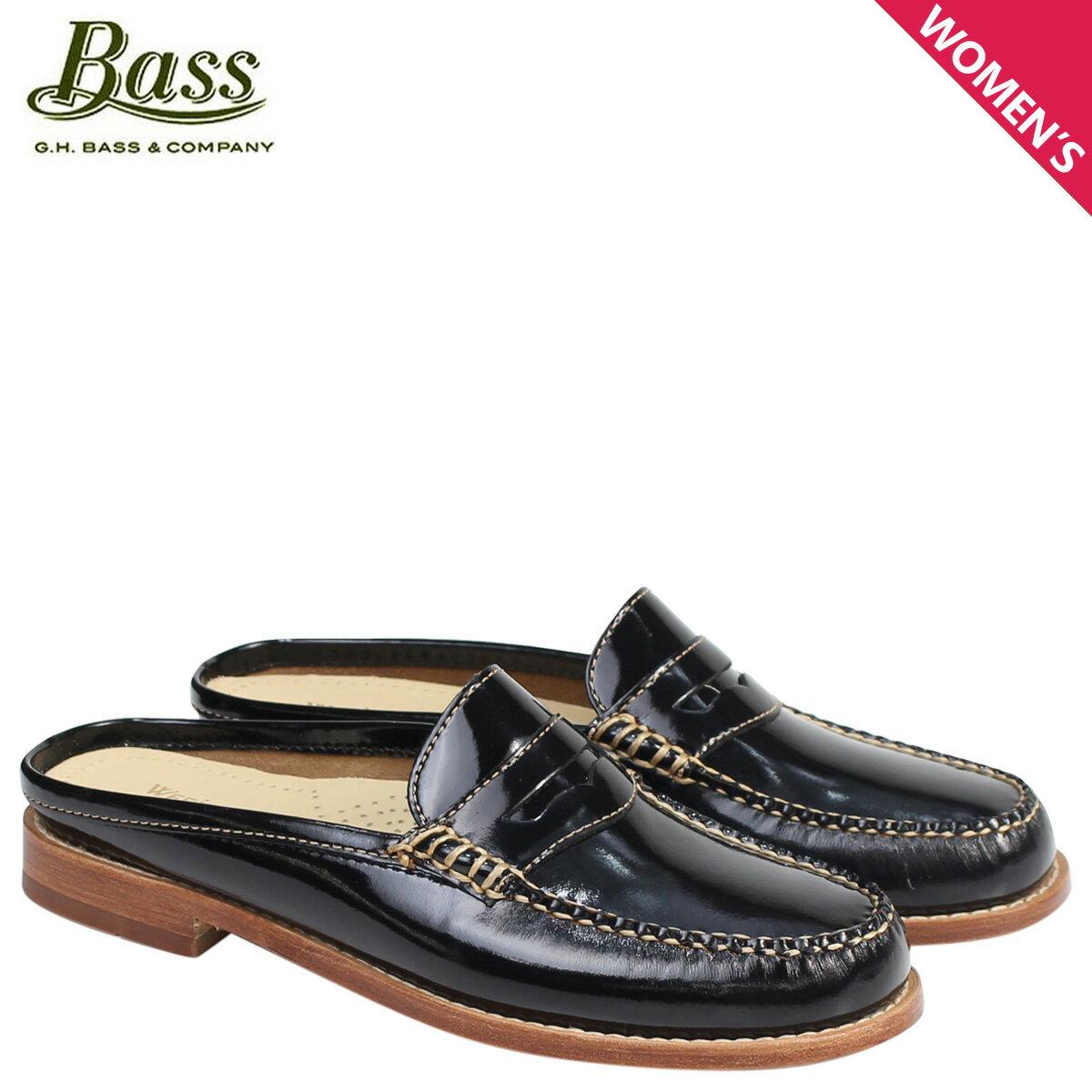 ジーエイチバス ローファー G.H. BASS レディース サンダル スリッパ バブーシュ WYNN PATENT LEATHER MULE WEEJUNS 71-22854 靴 ブラック [176]