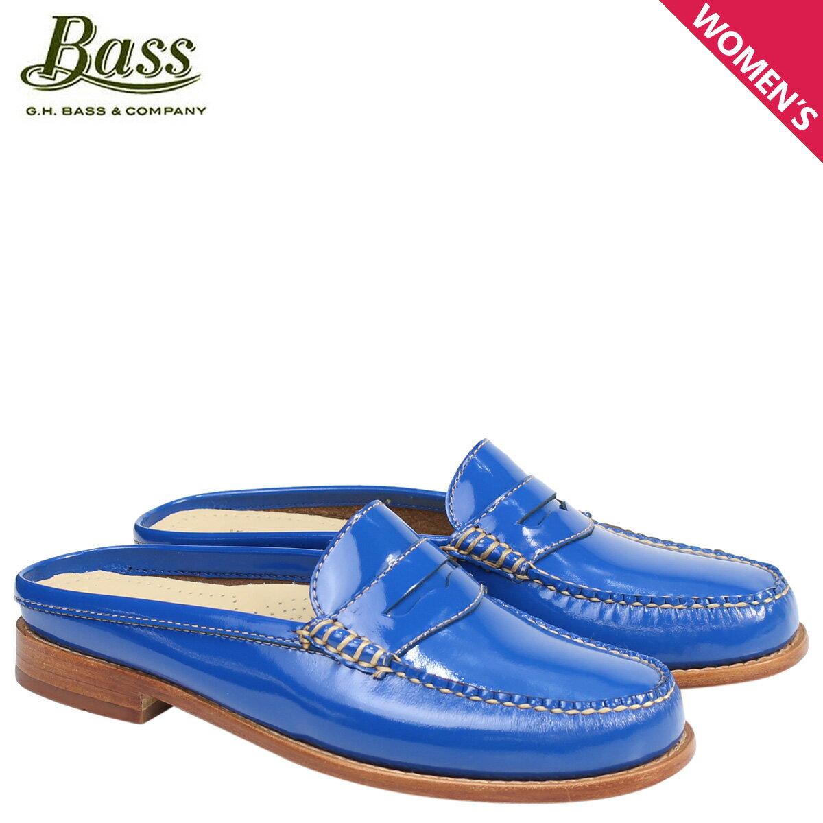 ジーエイチバス ローファー G.H. BASS レディース サンダル スリッパ バブーシュ WYNN PATENT LEATHER MULE WEEJUNS 71-22857 靴 ブルー [176]