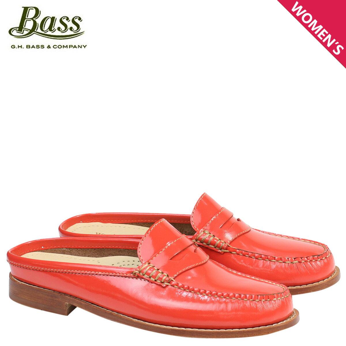 ジーエイチバス ローファー G.H. BASS レディース サンダル スリッパ バブーシュ WYNN PATENT LEATHER MULE WEEJUNS 71-22859 靴 オレンジ [176]