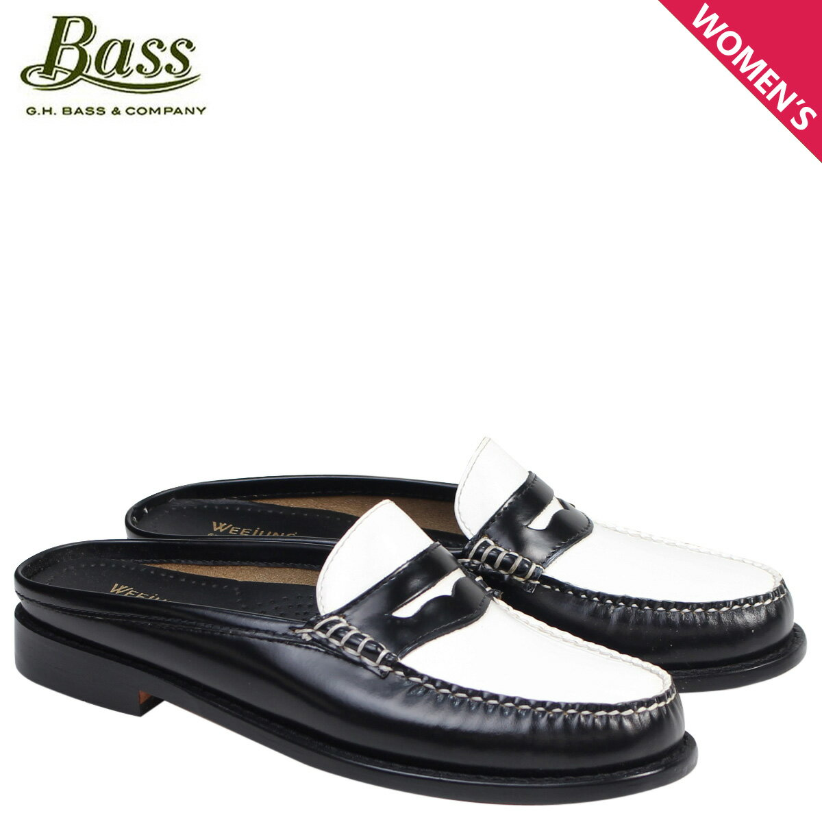 ジーエイチバス ローファー G.H. BASS レディース サンダル スリッパ バブーシュ WYNN PATENT LEATHER MULE WEEJUNS 71-22864 靴 ブラック ホワイト [176]