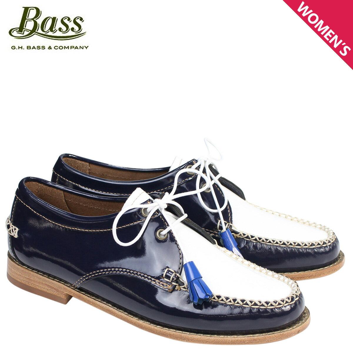 ジーエイチバス ローファー G.H. BASS レディース タッセル WINNIE TIE WEEJUNS 71-22875 靴 ネイビー ホワイト [177]