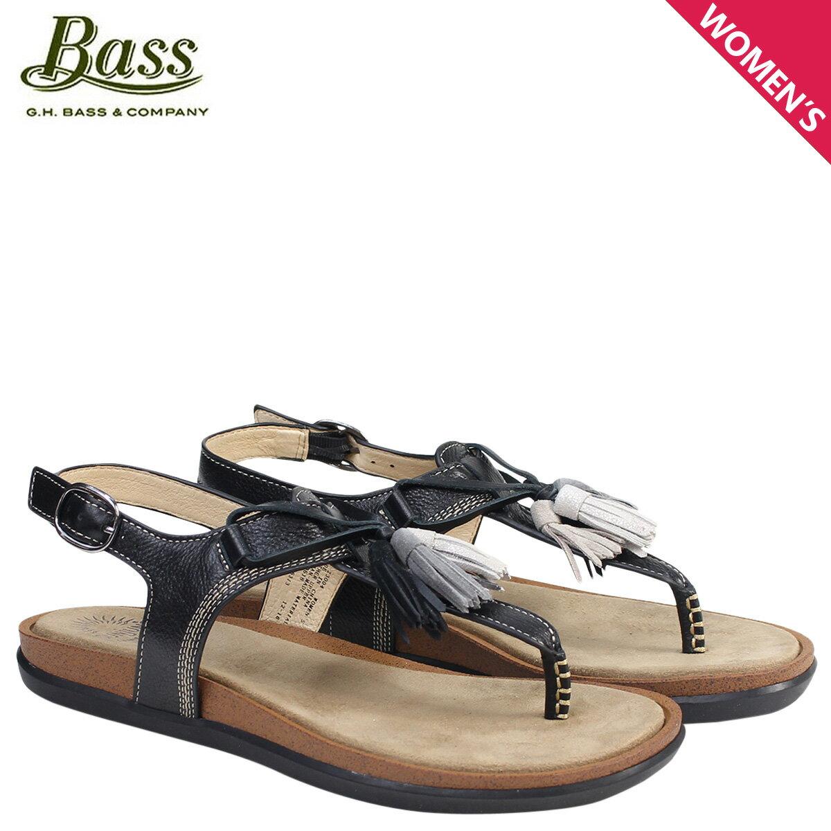 ジーエイチバス サンダル レディース G.H. BASS トングサンダル タッセル Tストラップ SADIE T-STRAP SUNJUNS 71-23004 靴 ブラック [177]