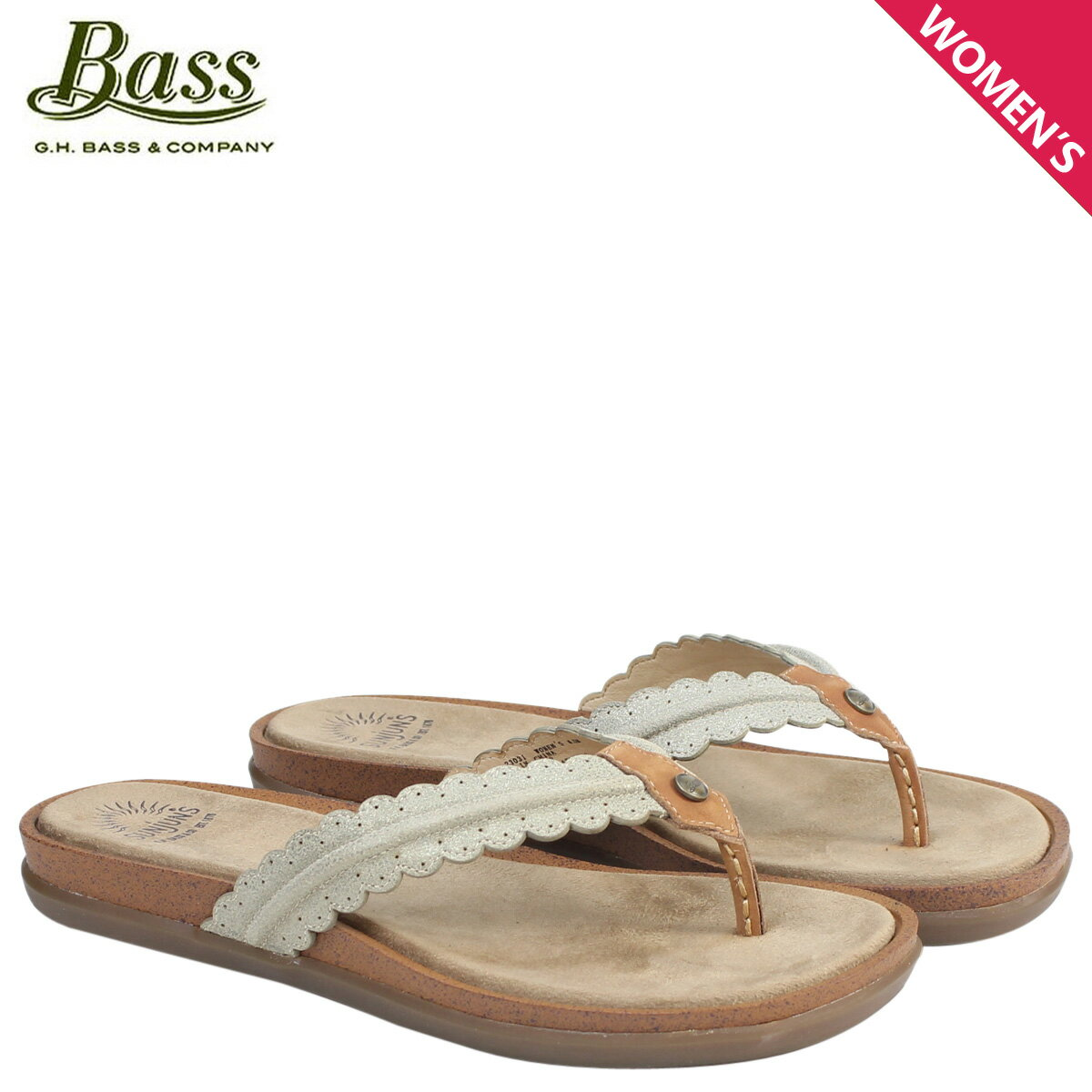 ジーエイチバス サンダル レディース G.H. BASS トング SAMANTHA SCALLOPED SUNJUNS 71-23031 靴 ブラウン [177]