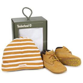 Timberland INFANT CRIB BOOTIES CAP SET ティンバーランド ブーツ シューズ キャップ 帽子 ニット帽 セット キッズ ベビー ギフト ウィート ベージュ 9589R [196]