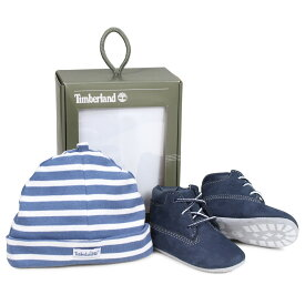 Timberland INFANT CRIB BOOTIES CAP SET ティンバーランド ブーツ シューズ キャップ 帽子 ニット帽 セット キッズ ベビー ギフト ネイビー A1LU3 [196]