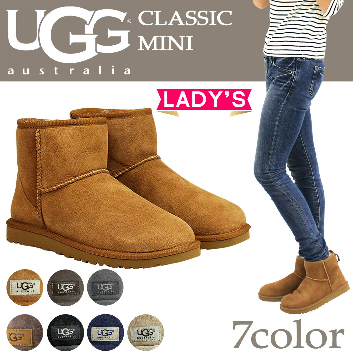 UGG WOMENS CLASSIC MINI II アグ ムートン ブーツ クラシック ミニ 2 5854 1016222 レディース [181]