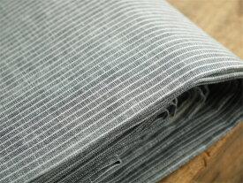 【切り売り】fog linen work フォグリネンワークの生地 グレーホワイトストライプ リトアニアリネン ワイド幅
