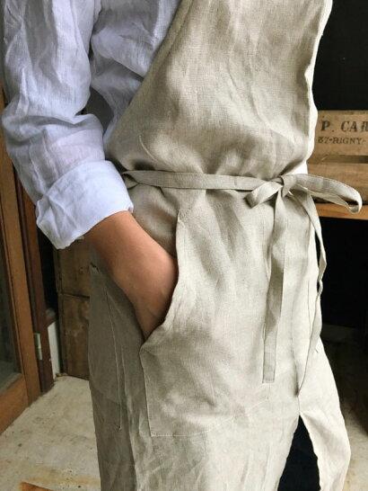 【送料無料】nay(ネイ)リネンフルエプロンlinen100%日本製レディースメンズおしゃれ