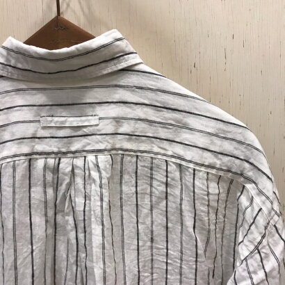 CLOTH&CROSS(クロスアンドクロス)リネンロングシャツホワイト×ブラック