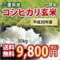 【 平成30年産 】三重県産 コシヒカリ 玄米 二等米 30kg 【送料無料】