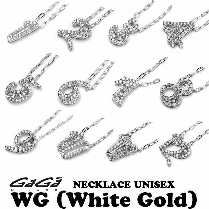 GaGa MILANO/ガガミラノ NECKLACE NUMBER ZIRCONIA WG/ジルコニアナンバーネックレス TNC-xx-CZシリーズ ホワイトゴールド 男女兼用/UNISEX 全12種 国内正規品 正規販売店