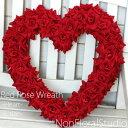 *レッドローズリース LL 『ハート』【誕生日】【リース】【アートフラワー】【バレンタイン】【【ドライフラワー】【リース】【楽ギ…