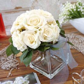 ブーケ 『Rose Bouquet & Vase Set -ローザブーケと花瓶セット-』デザイナーズ オリジナル ギフト ポリカーボネート バラ 結婚祝い 記念日 誕生日 ウェルカム 造花 アートフラワー インテリア 枯れないお花のアレンジ