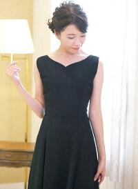 演奏会にぴったりのブラックロングドレスです