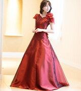 オーガンジーのスリーブドレス、演奏会用ロングドレスです