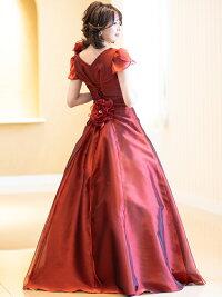 演奏会用ドレス袖付き袖あり演奏会ロングドレスオーガンジーの2WAYドレス発表会ステージ衣装黒赤ブルー大きいサイズピアノカラードレス(op3557)