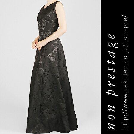 演奏会 フォーマルドレスに 薔薇柄 シャンタンのブラック ドレス(op3560)日本製 コーラス オーケストラ 合唱 発表会 ロング ステージ衣装 黒 Aライン パーティー 結婚式 ミセス 母親 20代 30代 40代 50代 60代 ファッション 大きいサイズ 演奏会用ドレス