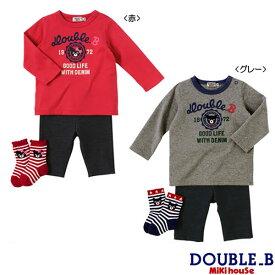 b62f31dffa3ff ダブルB ミキハウスカレッジロゴ風長袖Tシャツセット ギフトパッケージ付