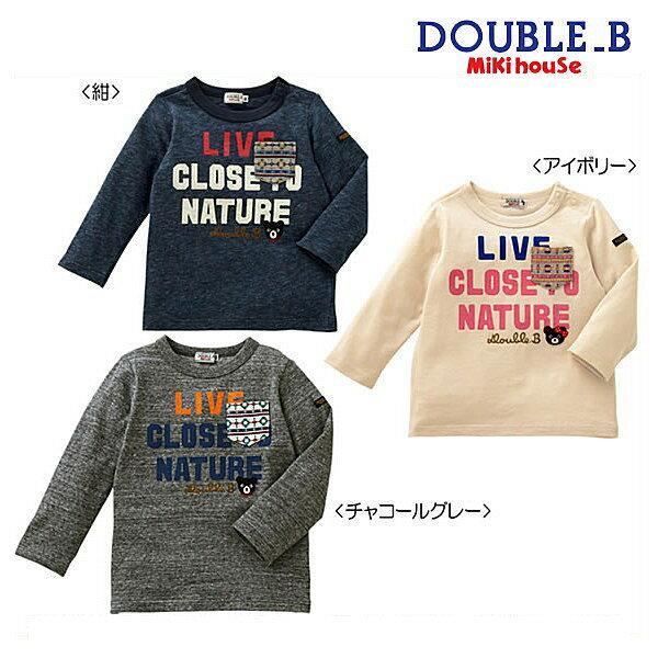 ダブルB(ミキハウス) Double B by MIKIHOUSE ネイティブ柄ポケットつき長袖Tシャツ【日本製】【ベビー】【キッズ】【50%OFFセール】【半額】