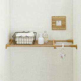 木調タイプのつっぱり棚 幅73〜112センチ×奥行き25.5センチ お部屋の雰囲気をこわさない♪