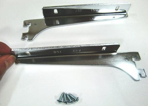 ロイヤルA−32、33木棚板専用ブラケットウッドブラケット左右セット(お取り寄せ商品)クローム呼び名150(実寸法157ミリ)