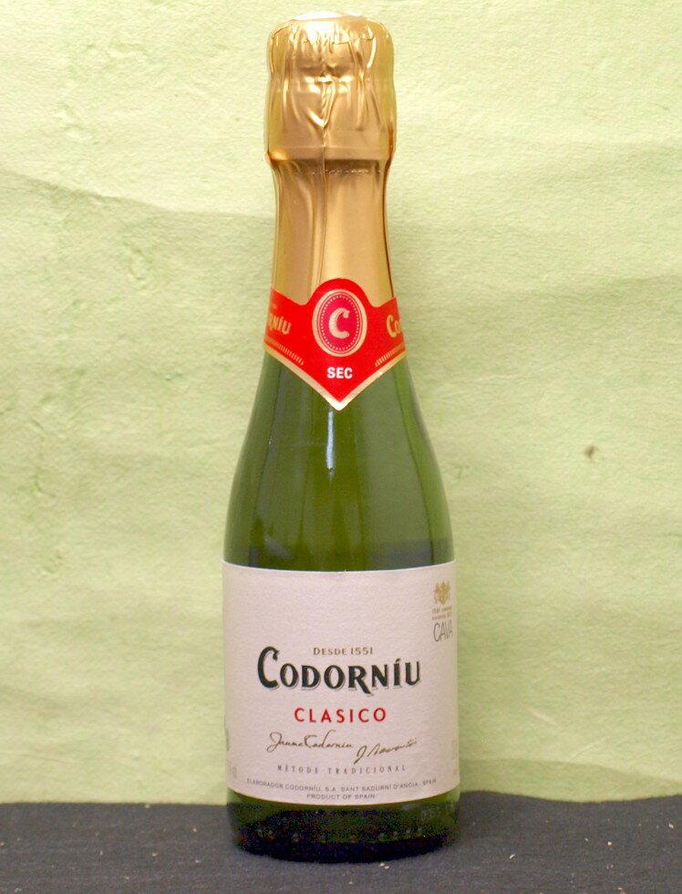 【CAVA】24本まで送料1本分(ただし北海道、沖縄、離島地域は除きます。配送は佐川急便指定です。)スパークリングワイン「コドーニュ クラシコ セコ(白)200ML(スペイン)やや辛口