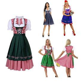 ディアンドル ドイツ オーストリア 売り子 ウェイトレス 民族 衣装 コスプレ ワンピース エプロン フリーサイズ ブルー/グリーン/ブラック/ネイビー