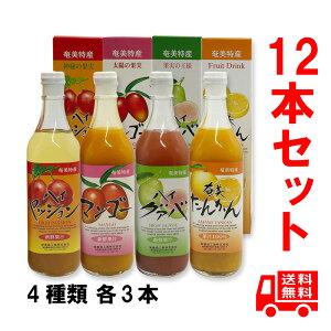 送料無料 奄美特産 フルーツジュース詰め合わせ 500ml 12本セット 箱入(ハイパッション3本、ハイグァバ3本、マンゴー3本、タンカン3本)