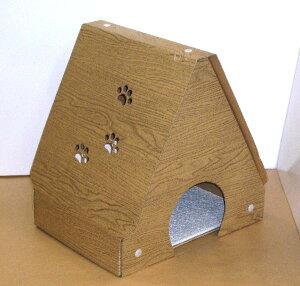 ダンボール製爪とぎキャットハウス 木目調完成品サイズ:間口38cm×奥行30cm×高さ40cm