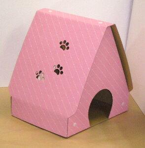ダンボール製爪とぎキャットハウス ピンク完成品サイズ:間口38cm×奥行30cm×高さ40cmみっちゃんホンポ