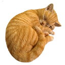 野川農園【レジン製】 眠り猫(ネコ)B 茶トラ  12689サイズ(約):W28cm×D21cm×H11cm