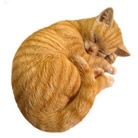 野川農園 レジン製 眠り猫 ネコ B 茶トラ  12689サイズ(約):W28cm×D21cm×H11cm